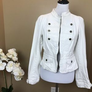 Loft White Denim Military Style Cropped Jacket